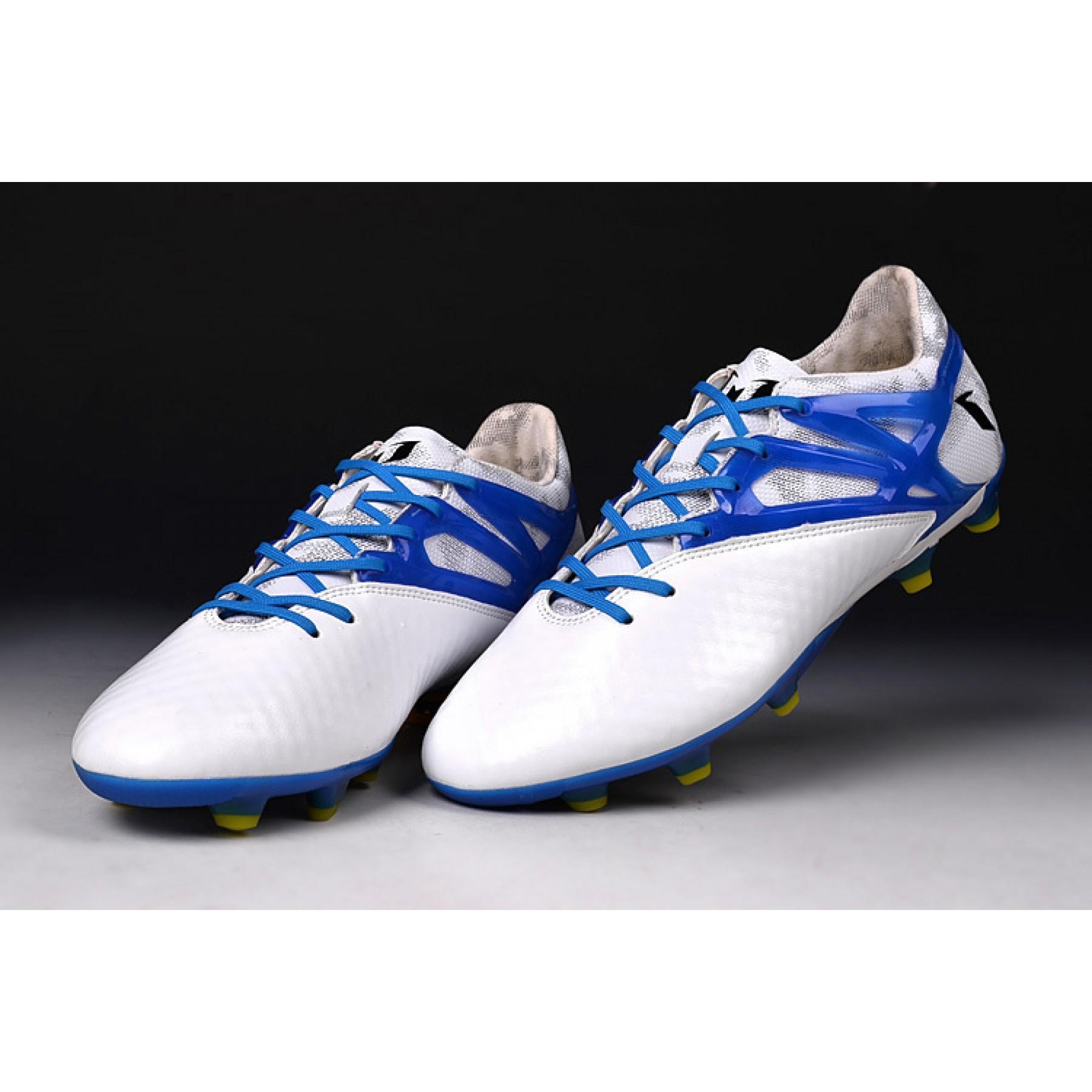 Chuteira de campo adidas MESSI 15.1 FG AG- Branco Azul Prime Cod 1002 739e6a00b0ea5