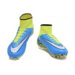 Chuteira Nike Hypervenom Phantom II FG  cor Azul Verde e Branco 1028