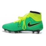 "Chuteira Nike Magista Obra FG with""ACC"" cor verde e amarelo"