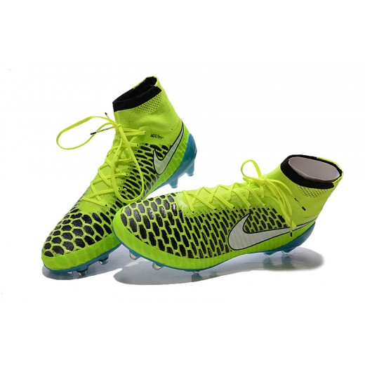 """b886f3f6787cf Chuteira Nike Magista Obra FG with""""ACC"""" cor azul e verdlimão Cod 1024"""