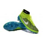 """Chuteira Nike Magista Obra FG with""""ACC"""" cor azul e verdlimão Cod 1024"""