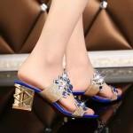 Sandália strass de salto mulheres 3 cores 0819