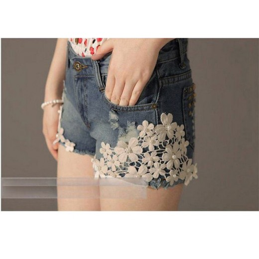 Bermuda jeans feminino com bordados 0476-EL