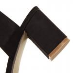 Sandália salto médio couro genuino nobuk 0849