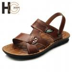 Sandálias para homens de couro respirável 0783