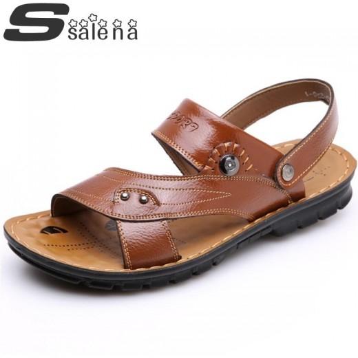 Sandálias de couro para praia para homem e antiderrapante 0792
