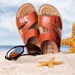 Sandálias de couro para praia para homem e antiderrapante 0793