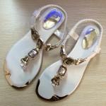 Sandália rasteira vintage Flip flop com strass estilo gladiador 0844