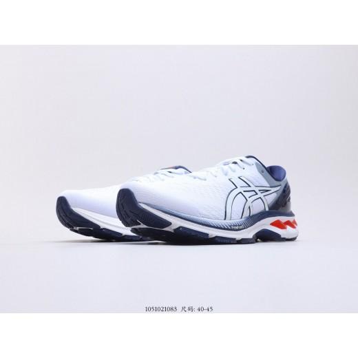 Tênis asics gel Kayano 27 Masculino  cor branca com detalhes azul e preto 1299EL