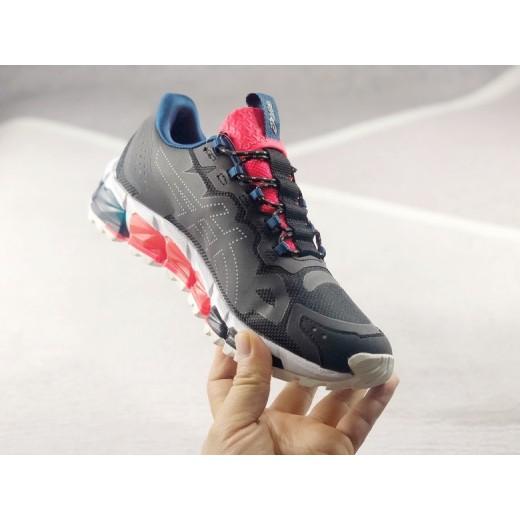 Tenis Asics Gel modelo Masculino cores cinza com detalhes vermelho 1289-EL