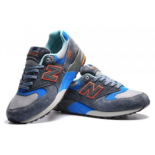 Tênis New Balance NB 999 Masculino Cor Cinza Escuro com detalhes Azul e Vermelho