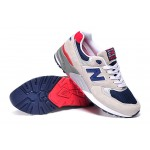 Tênis New Balance NB 999 Masculino Cor Cinza Claro com Detalhes Azul e Vermelho
