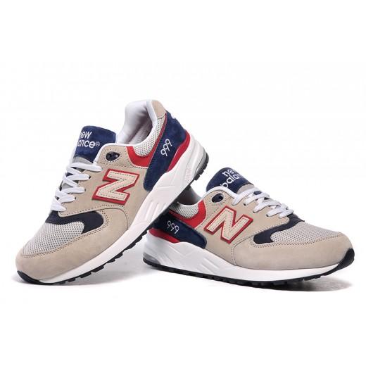 Tênis New Balance NB 999 Masculino e Feminino Cor Creme com Detalhes Azul e Vermelho