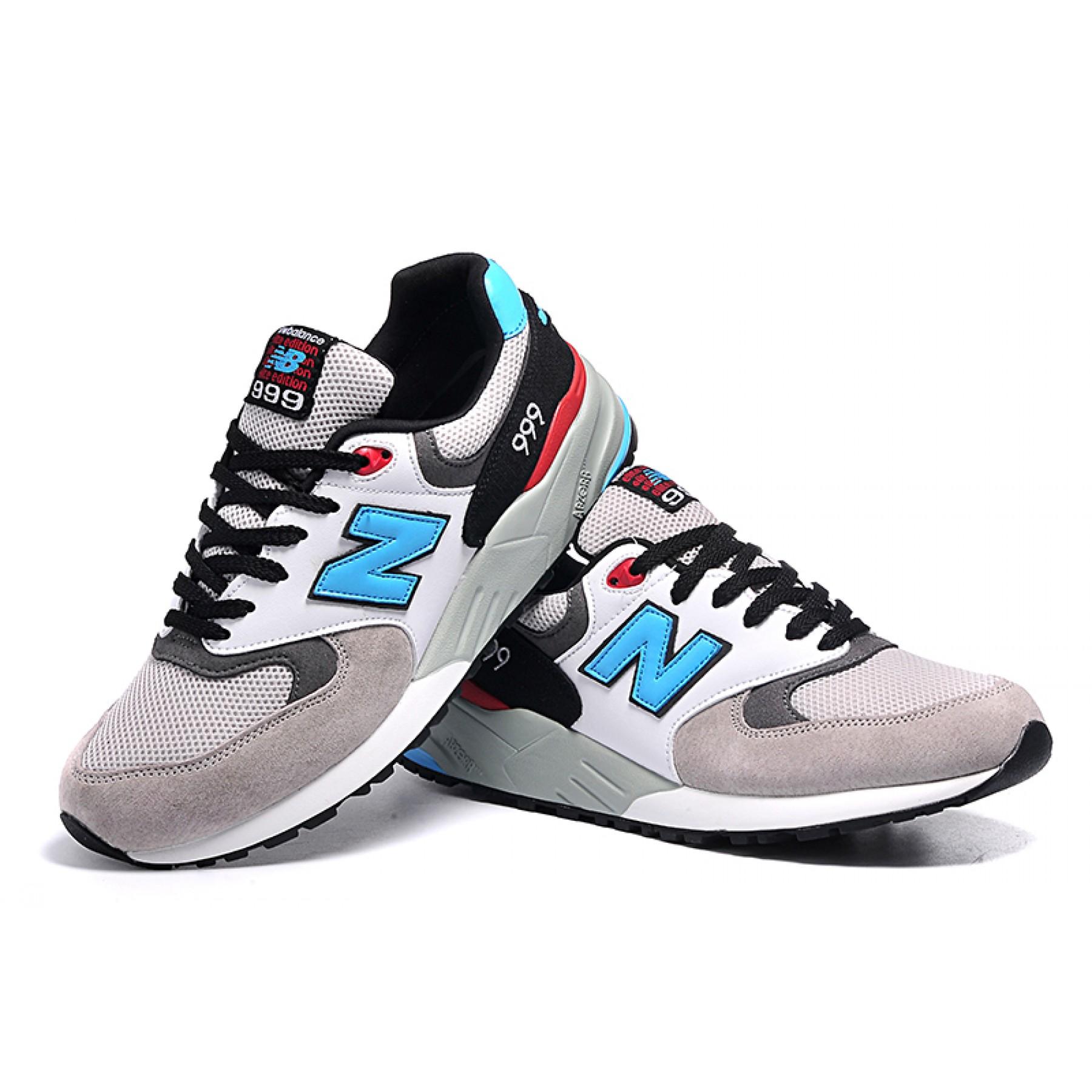 56dc2bf6a59 Tênis New Balance NB 999 Elite Edition Masculino e Feminino Cor Cinza com  Detalhes Azul preto ...