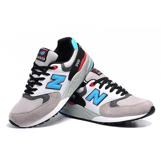 Tênis New Balance NB 999 Elite Edition Masculino e Feminino Cor Cinza com Detalhes Azul preto e Vermelho