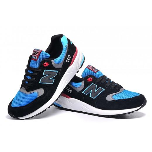 Tênis New Balance NB 999 Elite Edition Masculino e Feminino Cor Preto com Detalhes Azul Celeste