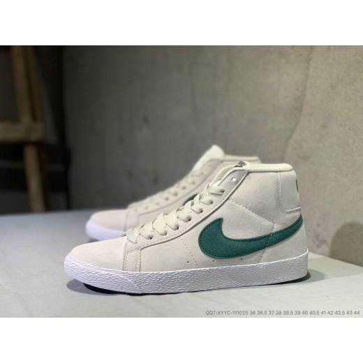 Tenis cano longo Nike modelo Sb zoom Blazer unissex cor cinza com detalhes verde 1305-EL