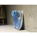 Tenis cano longo Nike modelo Sb zoom Blazer unissex cor azul claro com detalhes beije e branco 1307EL