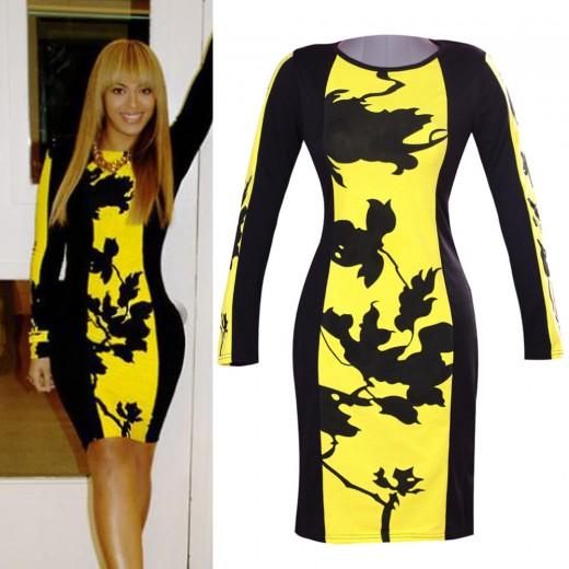 Vestido Feminino em Polyester Cores Amarelo e Preto Cod 0433