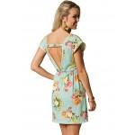 Vestido Curto com Estampa Floral Caveiras Cod 0301