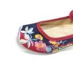 Sapatilha estilo chinês com bordado de pano 0840