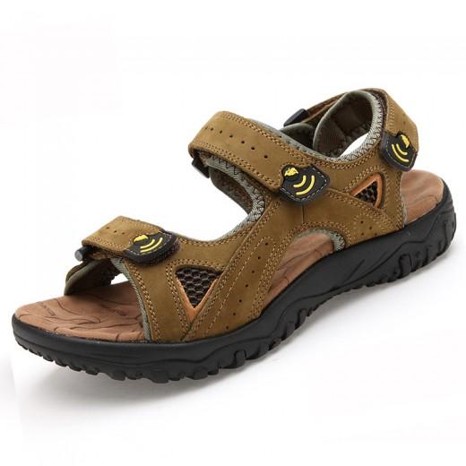 Sandálias para homens de couro respirável 0782