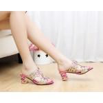 Sandália strass de salto mulheres 12 cores 0818