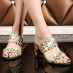 Sandália strass de salto mulheres 0817